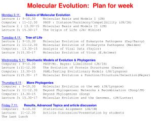 Molecular Evolution:  Plan for week