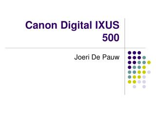 Canon Digital IXUS 500