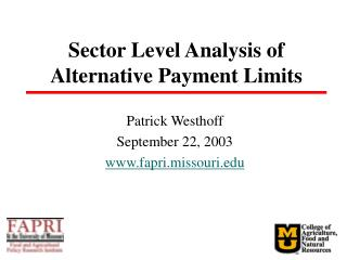 Sector Level Analysis of Alternative Payment Limits