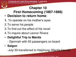 Chapter 10 First Homecoming (1887-1888)