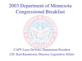 2003 Department of Minnesota  Congressional Breakfast