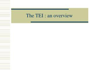 The TEI : an overview