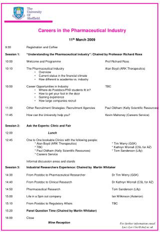 Careers in the Pharmaceutical Industry 11 th  March 2009 9:30 Registration and Coffee