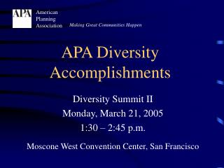 APA Diversity Accomplishments