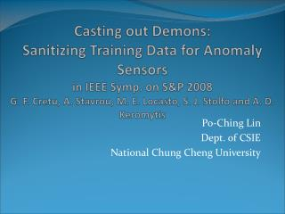 Po-Ching Lin Dept. of CSIE National Chung Cheng University