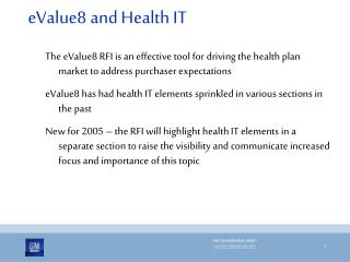 eValue8 and Health IT