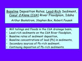 Mill tailings and floods in the CdA drainage basin,