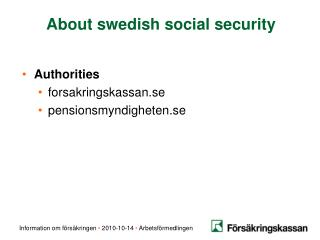About swedish social security