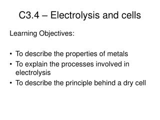 C3.4 – Electrolysis and cells