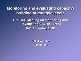 Monitoring and evaluating capacity-building at multiple levels