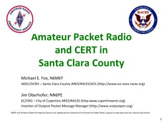 Amateur Packet Radio and CERT in Santa Clara County