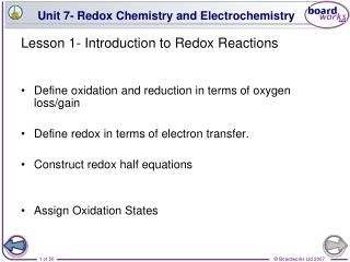 Lesson 1- Introduction to Redox Reactions