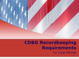 CDBG Recordkeeping Requirements For Local Officials