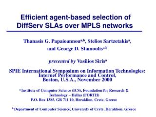 Efficient agent-based selection of DiffServ SLAs over MPLS networks