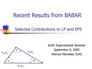 Recent Results from BABAR Selected Contributions to LP and EPS