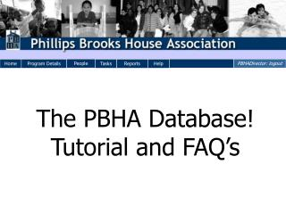 The PBHA Database! Tutorial and FAQ's
