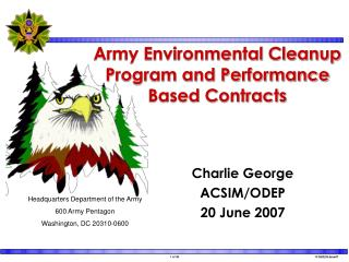 Army Environmental Cleanup Program and Performance Based Contracts