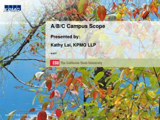 A/B/C Campus Scope Presented by: Kathy Lai, KPMG LLP AUDIT