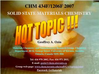 CHM 434F/1206F 2007  SOLID STATE MATERIALS CHEMISTRY