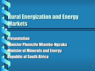 Rural Energization and Energy Markets