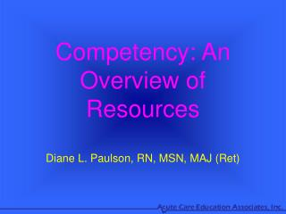 Competency: An Overview of Resources