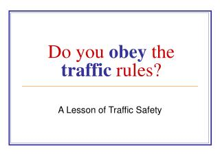 Do you  obey  the  traffic  rules?