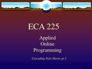 Applied Online  Programming