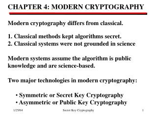 CHAPTER 4: MODERN CRYPTOGRAPHY Modern cryptography differs from classical.