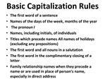 Basic Capitalization Rules