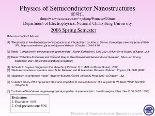 Physics of Semiconductor Nanostructures