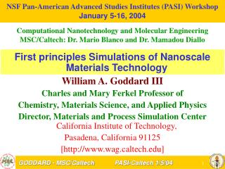 NSF Pan-American Advanced Studies Institutes (PASI) Workshop January 5-16, 2004