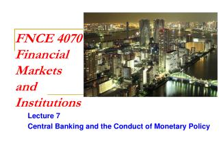 FNCE 4070 Financial  Markets  and Institutions