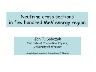 Neutrino cross sections  in few hundred MeV energy region