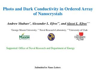 Photo and Dark Conductivity in Ordered Array of Nanocrystals