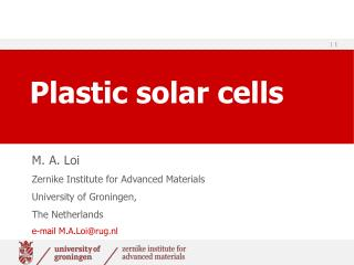 Plastic solar cells