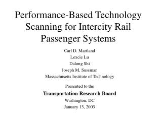 Performance-Based Technology Scanning for Intercity Rail Passenger Systems