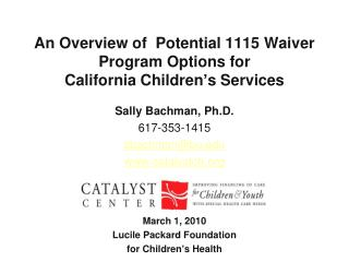 An Overview of  Potential 1115 Waiver Program Options for  California Children's Services