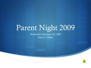 Parent Night 2009