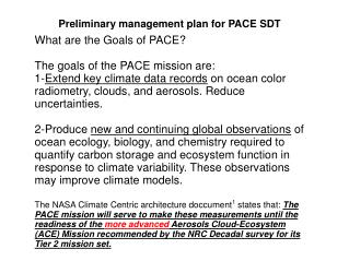 Preliminary management plan for PACE SDT