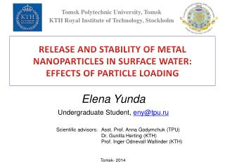 RELEASE AND STABILITY OF METAL NANOPARTICLES IN SURFACE WATER:  EFFECTS OF PARTICLE LOADING