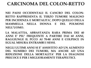 CARCINOMA DEL COLON-RETTO