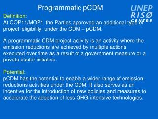 Programmatic pCDM