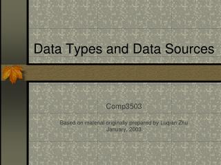 Data Types and Data Sources