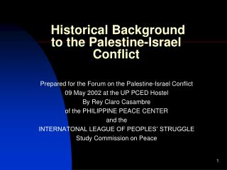 Historical Background  to the Palestine-Israel Conflict