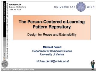 The Person-Centered e-Learning Pattern Repository Design for Reuse and Extensibility