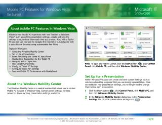 About the Windows Mobility Center Set up for a Presentation