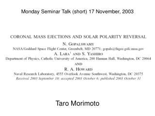 Monday Seminar Talk (short) 17 November, 2003