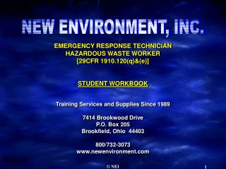 EMERGENCY RESPONSE TECHNICIAN HAZARDOUS WASTE WORKER [29CFR 1910.120(q)&(e)] STUDENT WORKBOOK