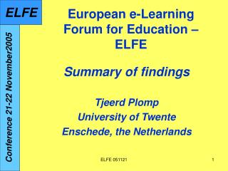European e-Learning Forum for Education – ELFE