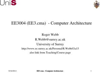 EE3004 (EE3.cma)  - Computer Architecture